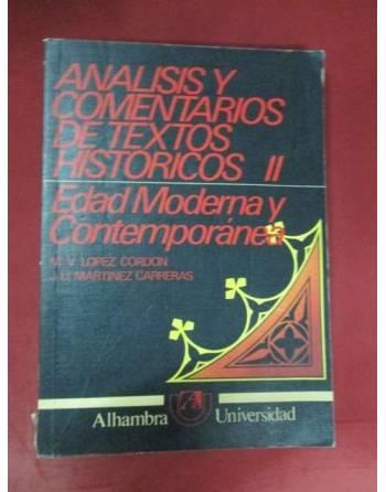 ANÁLISIS Y COMENTARIOS DE TEXTOS HISTÓRICOS II: Edad Moderna y...