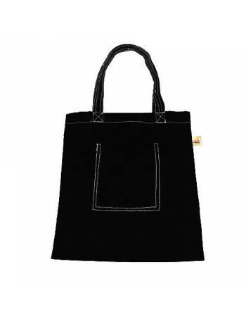 Bolsa algodón negra con bolsillo