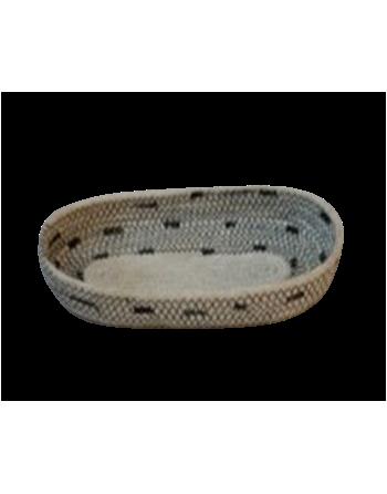 Bandeja oval de yute blanco y negro Corr (Ban)