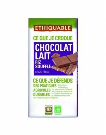 Chocolate Ethiquable con leche y arroz inflado