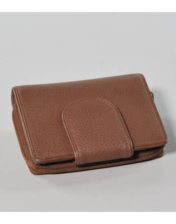 Cartera cuero marrón cremallera/cierre (IN) ID