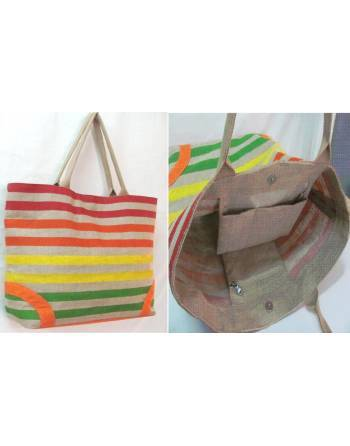 Bolsa yute multicolor con bolsillos interiores