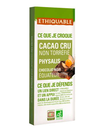 Chocolate Ethiquable raw con physalis